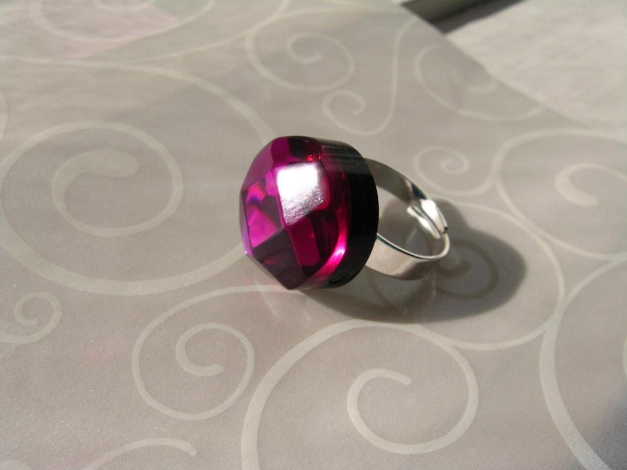 Chunky pink diamond cabochon ring