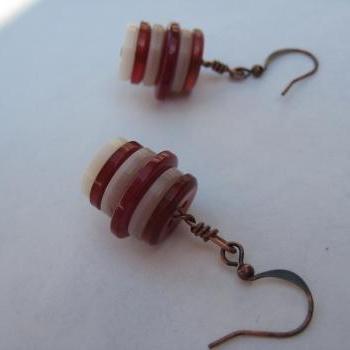 Red and cream buttons earrings