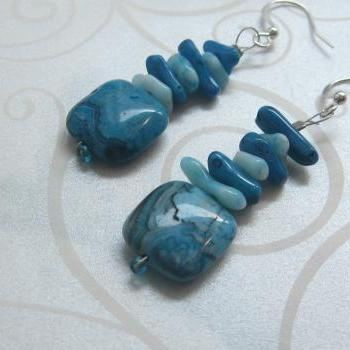 Blue coral and agate earrings